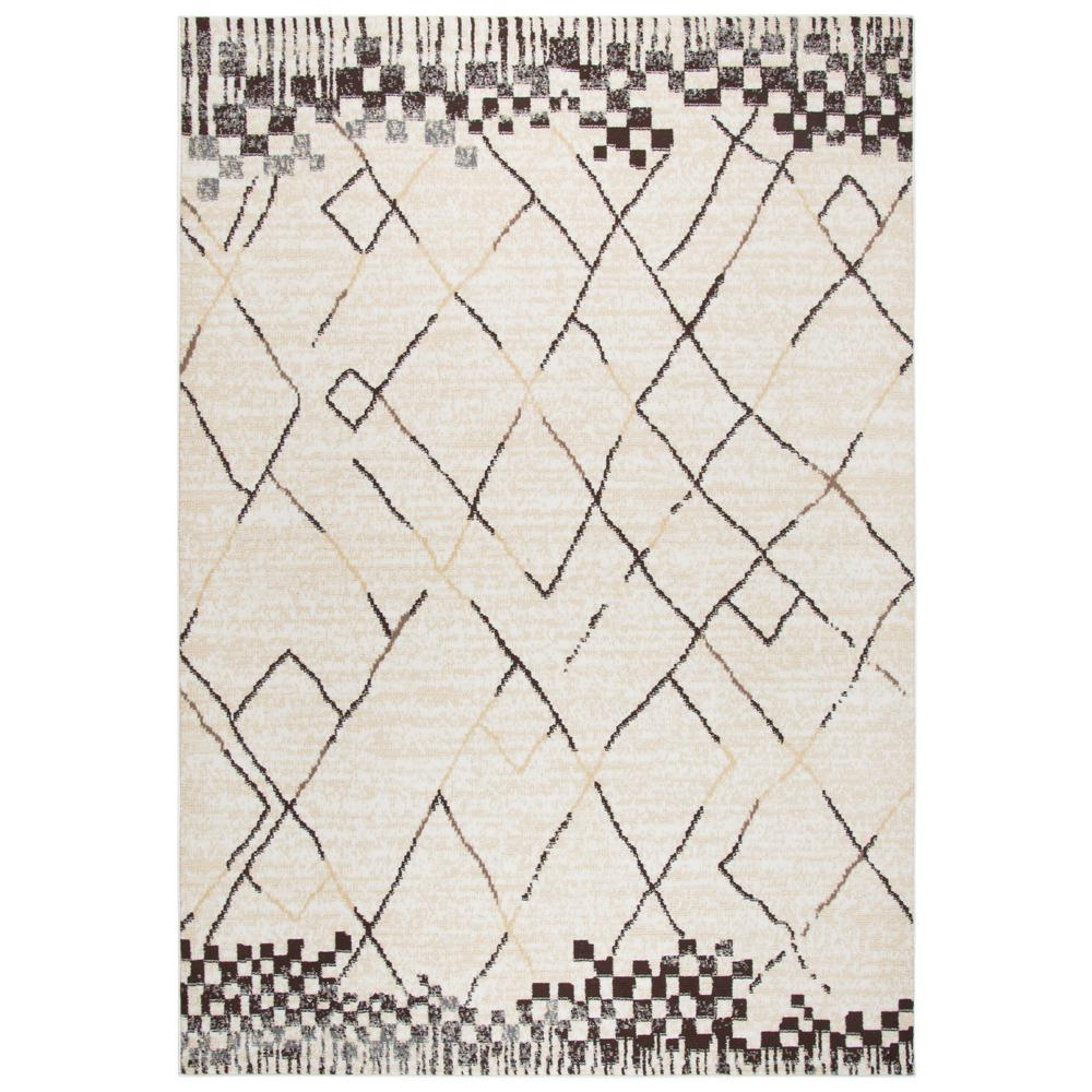 Xcite Beige Abstract Machine Made 5 ft. 2 in. x 7