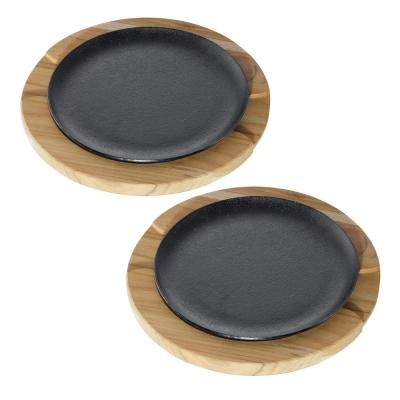 Churrassco Cast Iron Sizzler Set 2-Piece with Wood Trivet (2-Pack)