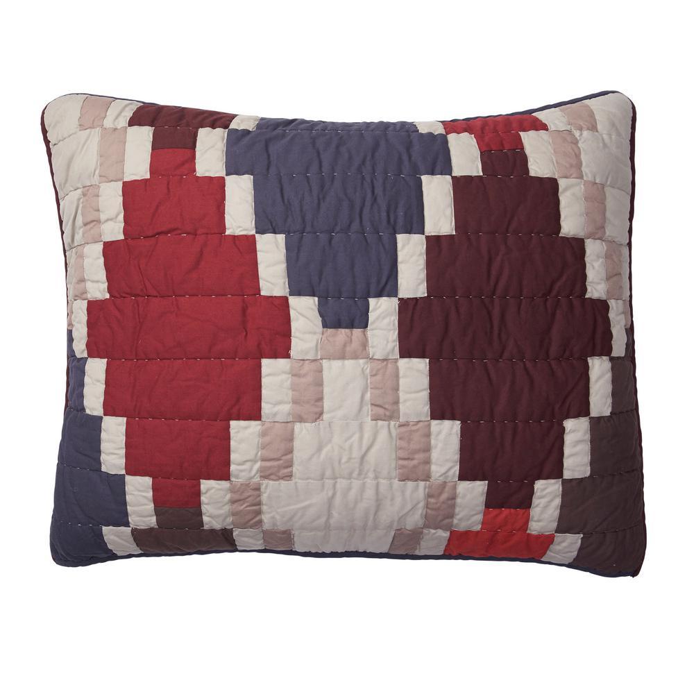Mosaic Multicolored Geometric Cotton Patchwork Standard Sham