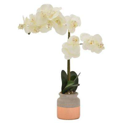 23 in. Faux Orchid Flower Pot in Green