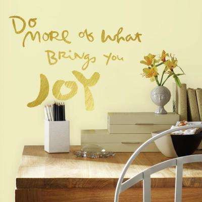 5 in. x 11.5 in. Kathy Davis Brings Joy Gold Foil 4-Piece Peel and Stick Wall Decals