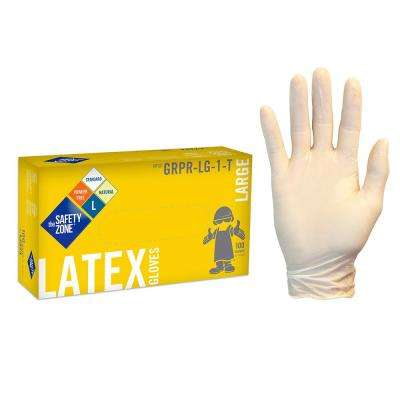 Large White Natural Latex Rubber Powder-Free Gloves (10-Pack of 100-Count)
