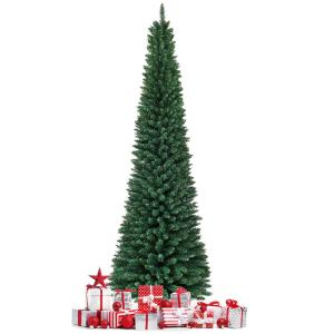 9 ft. Green Unlit Flocked Artificial Christmas Tree with Enviroment Friendly Material and No Decorative