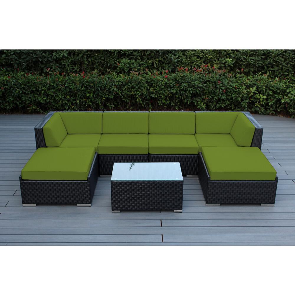 Ohana Depot Ohana Black 7-Piece Wicker Patio Seating Set with Sunbrella Macaw Cushions