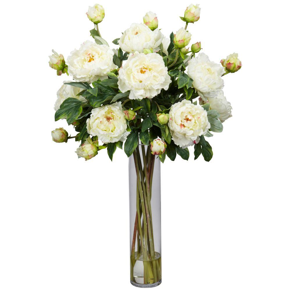32 in. H White Peony with Cylinder Silk Flower Arrangement
