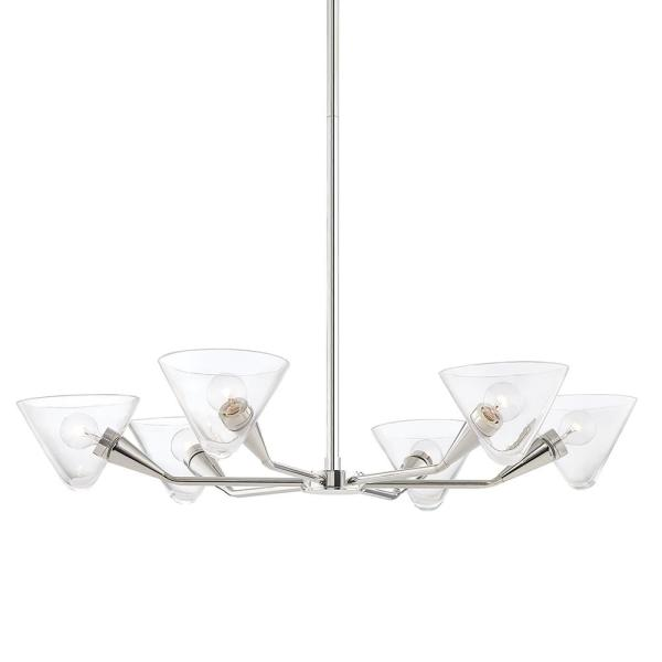 Isabella 6-Light Polished Nickel Chandelier with Clear Shade