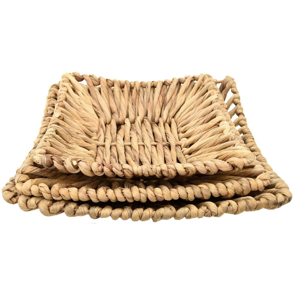 THREE HANDS Natural Fiber Water Hyacinth Plate (Set of 3)-33319 ...