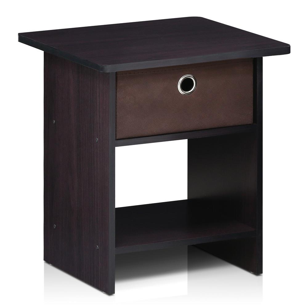 Furinno Home Living Bin Drawer Dark Walnut Nightstand