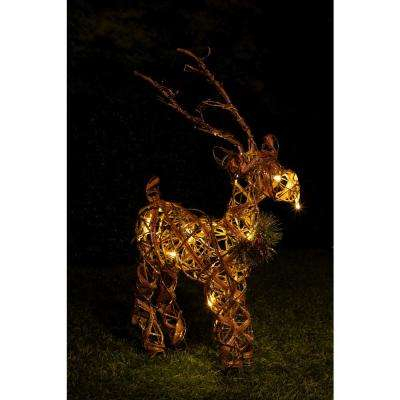 23 in. Rattan and Berry Reindeer Decor with 10 LED Lights