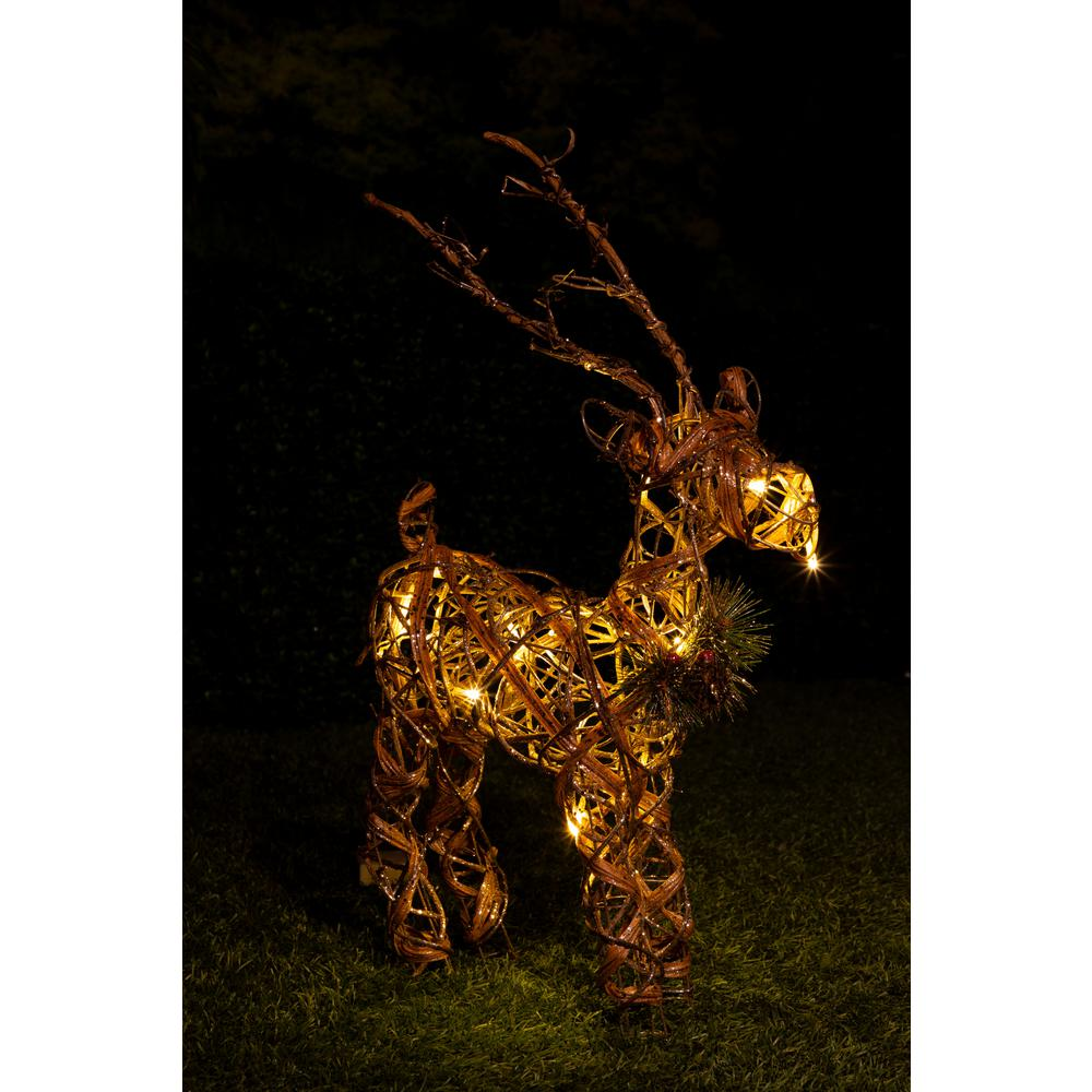 Rattan and Berry Reindeer Decor with 10 LED Lights