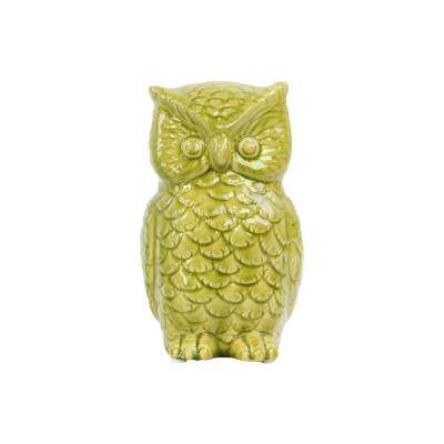 9 in. H Owl Decorative Figurine in Green Gloss Finish
