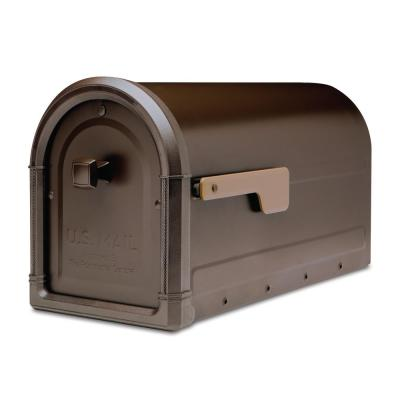 Roxbury Post Mount Mailbox Rubbed Bronze with Premium Cast Aluminum Knob and Champagne Flag