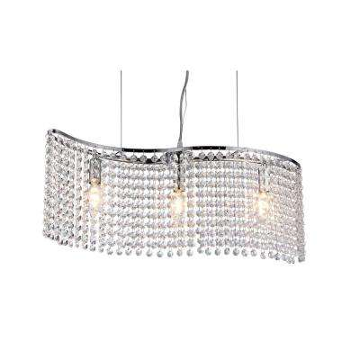 Carribean 3-Light Chrome Hanging Crystal Chandelier with Shade