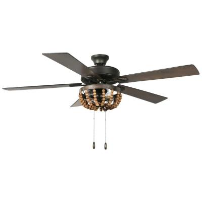 Alma 52 in. LED Indoor Brown Ceiling Fan with Light