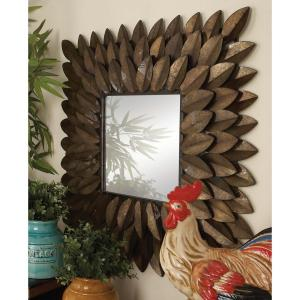 30 inch x 30 inch New Traditional Radiating Espresso Brown Tin Leaves Framed Wall Mirror by