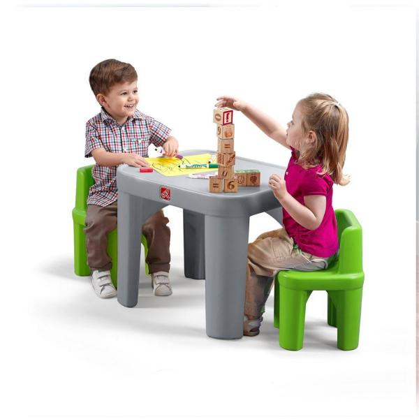 Step2 Mighty My Size 3 Piece Grey And Green Children S Table And