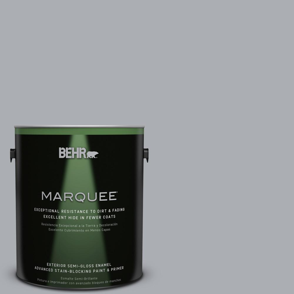 BEHR MARQUEE 1-gal. #760E-3 Gray Timber Wolf Semi-Gloss Enamel Exterior Paint