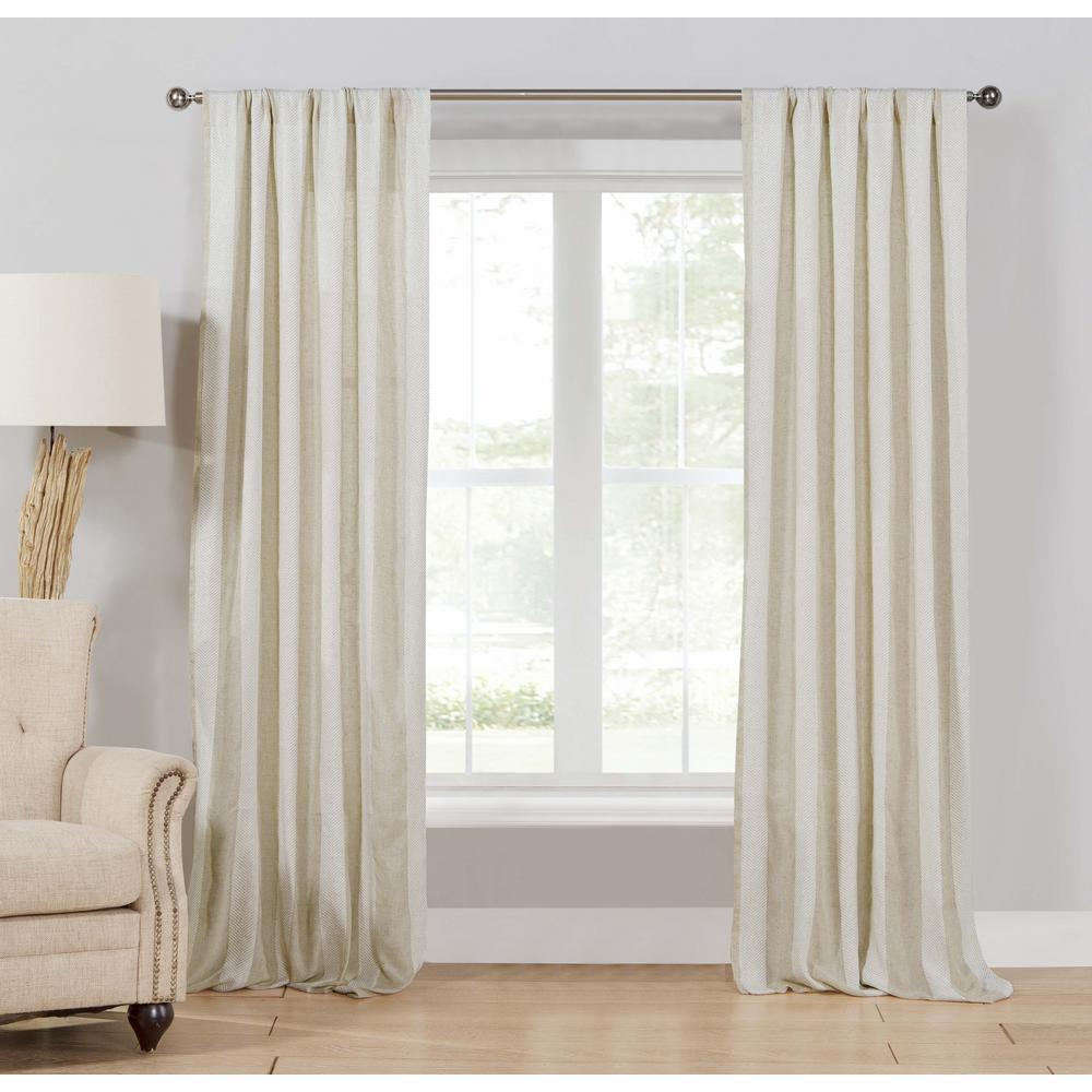 Newbury 96 in. L x 37 in. W Curtain Panel in Linen (2-Pack)