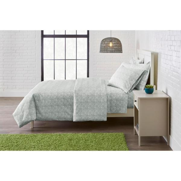 StyleWell Brushed Microfiber 3-Piece Full/Queen Duvet Cover Set in Stencil Moss