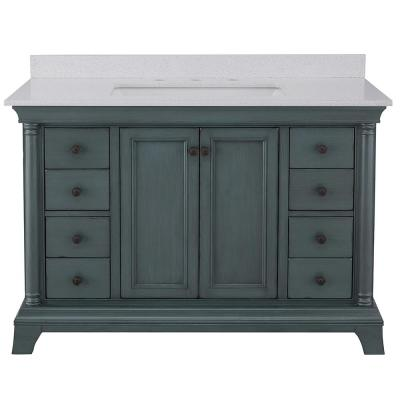 Strousse 49 in. W x 22 in. D Vanity in Distressed Blue Fog with Engineered Stone Top in Ice Diamond with White Sink