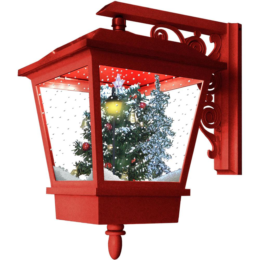 18 in. Musical Wall-Mount Lantern Featuring Christmas Tree Scene and Snow