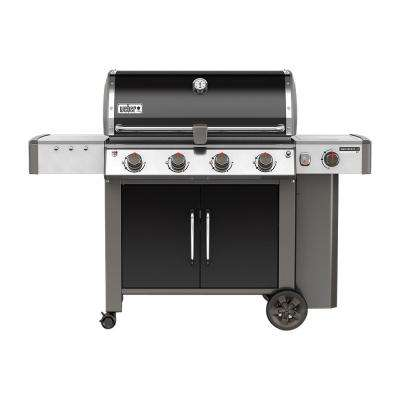 Genesis II LX E-440 4-Burner Propane Gas Grill in Black with Built-In Thermometer and Grill Light
