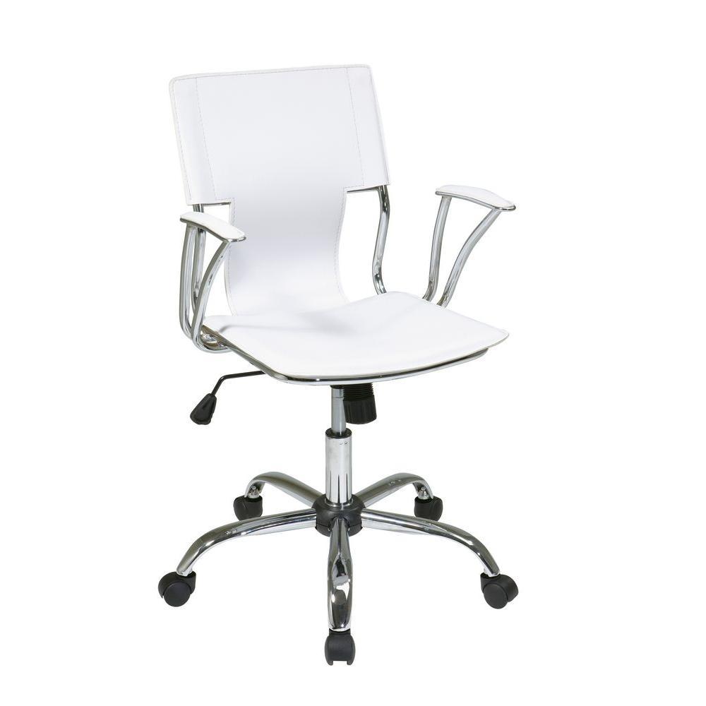 Peachy Dorado White Vinyl Office Chair Machost Co Dining Chair Design Ideas Machostcouk
