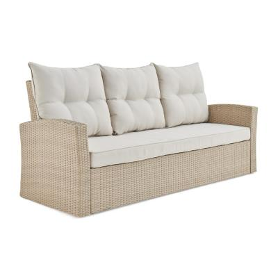 Canaan Beige All-Weather Wicker Outdoor Couch with Cream Cushions