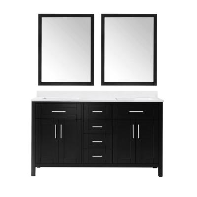 Tahoe 60 in. W Double Sink Vanity in Espresso with Cultured Marble Vanity Top in White with White Basin and Mirrors