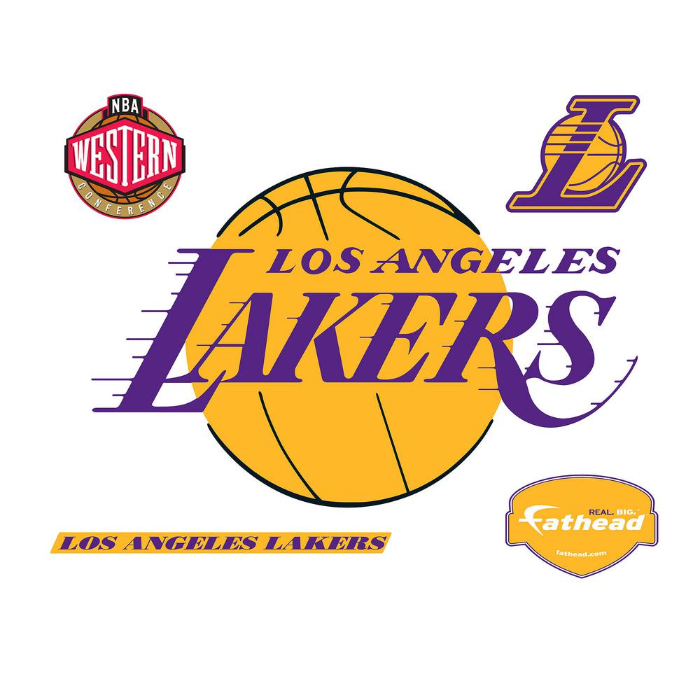 Fathead 31 in. H x 50 in. W Los Angeles Lakers Logo Wall Mural-62 ...