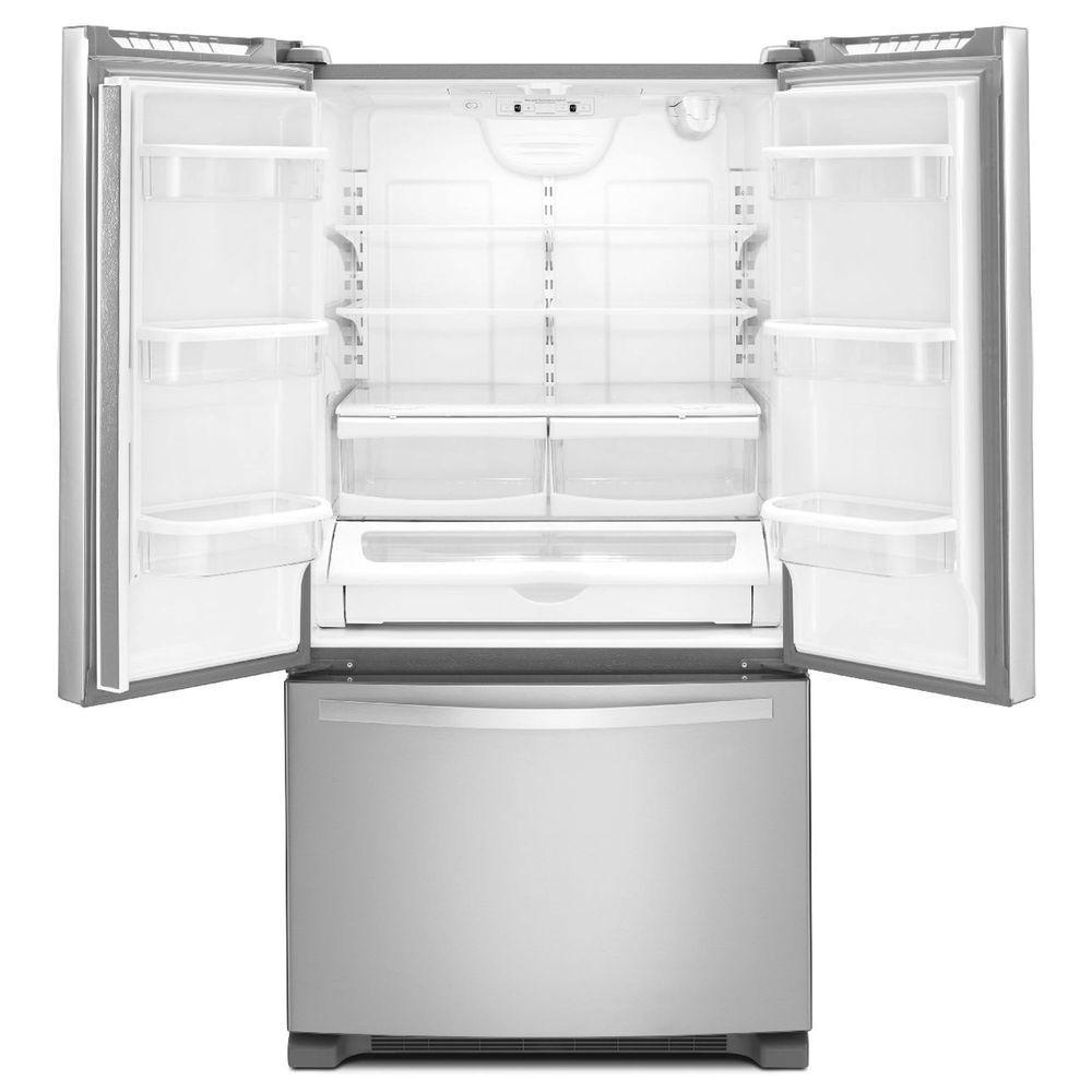 whirlpool french door refrigerator. +4. whirlpool 36 in. w 25.2 cu. ft. french door refrigerator in monochromatic stainless
