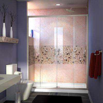 Visions 60 in. W x 32 in. D x 74-3/4 in. H Semi-Frameless Shower Door in Brushed Nickel with White Base Center Drain
