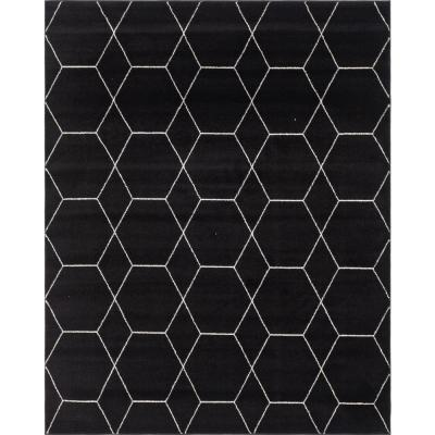 Trellis Frieze Black/Ivory 8 ft. x 10 ft. Geometric Area Rug