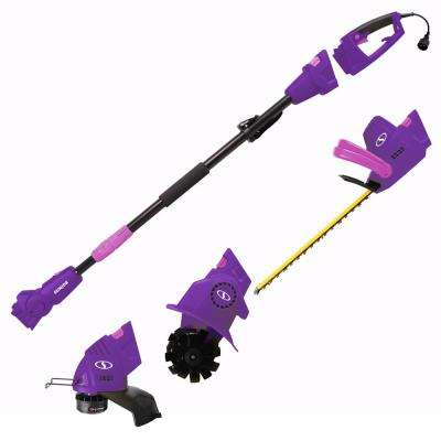 4.5 Amp Electric Lawn and Garden Multi-Tool System Hedge Trimmer/Grass Trimmer/Garden Tiller, Purple