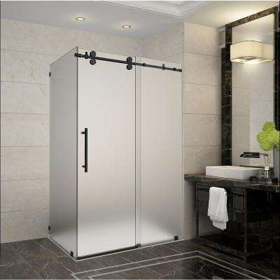 Langham 44 in. - 48 in. x 33.8125 in. x 75 in. Frameless Sliding Shower Enclosure, Frosted Glass in Oil Rubbed Bronze