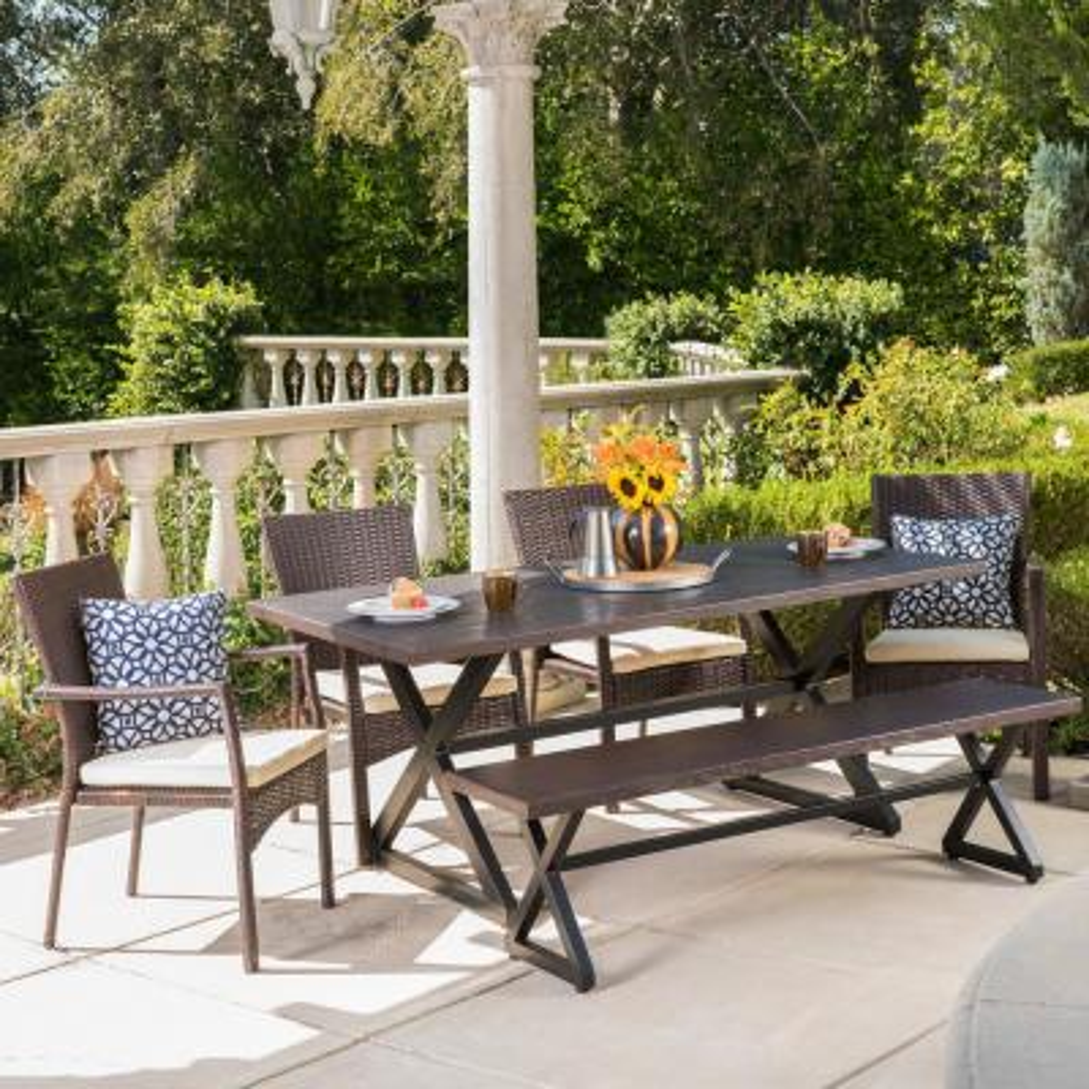 Tritan 29 in. Brown 6-Piece Metal Rectangular Outdoor Dining Set with Cream Cushions