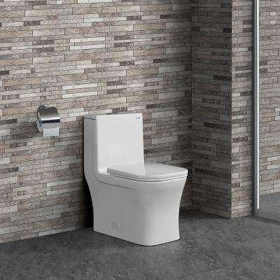 Concorde 1-Piece 0.8/1.28 GPF Dual Flush Square Elongated Toilet in White