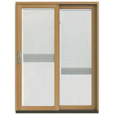 59-1/4 in. x 79-1/2 in. W-2500 Arctic Silver Prehung Right-Hand Clad-Wood Sliding Patio Door with Blinds
