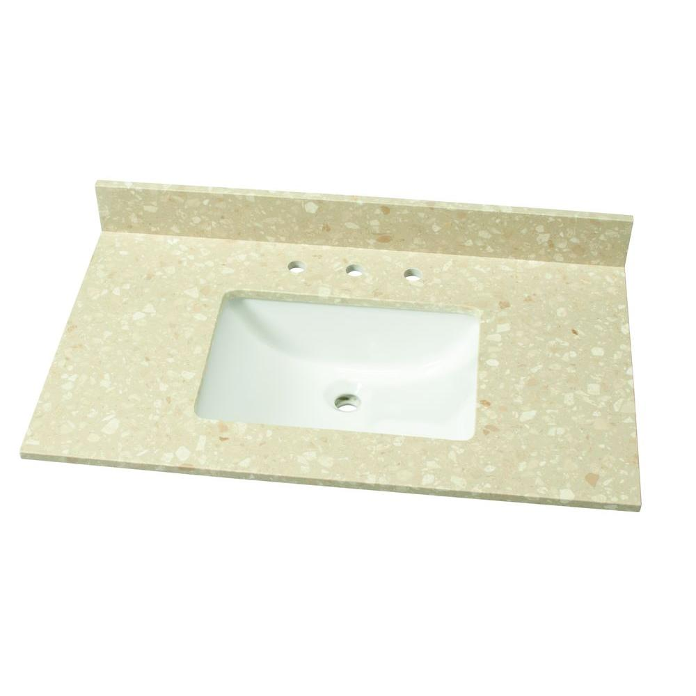 37 in. W Engineered Marble Single Vanity Top in Piatra Beige