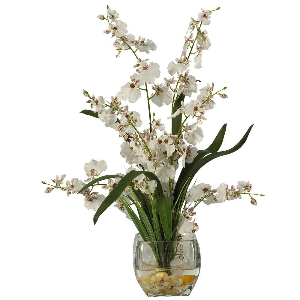 19 in. Dancing Lady Orchid Liquid Illusion Silk Flower Arrangement in White