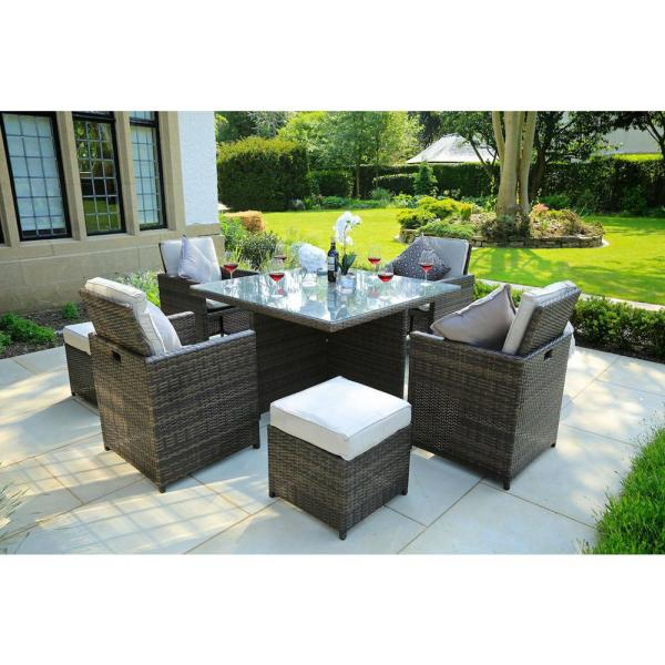 Direct Wicker Cubo Variegated Brown 9 Piece Wicker Square Outdoor Dining Set With Beige Cushions Pad 3233b The Home Depot