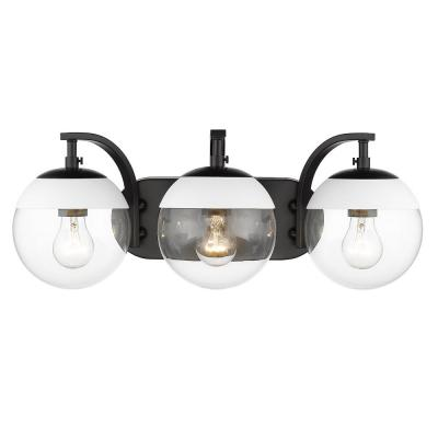 Dixon 12 in. 3-Light Black with Clear Glass and White Cap Bath Vanity Light