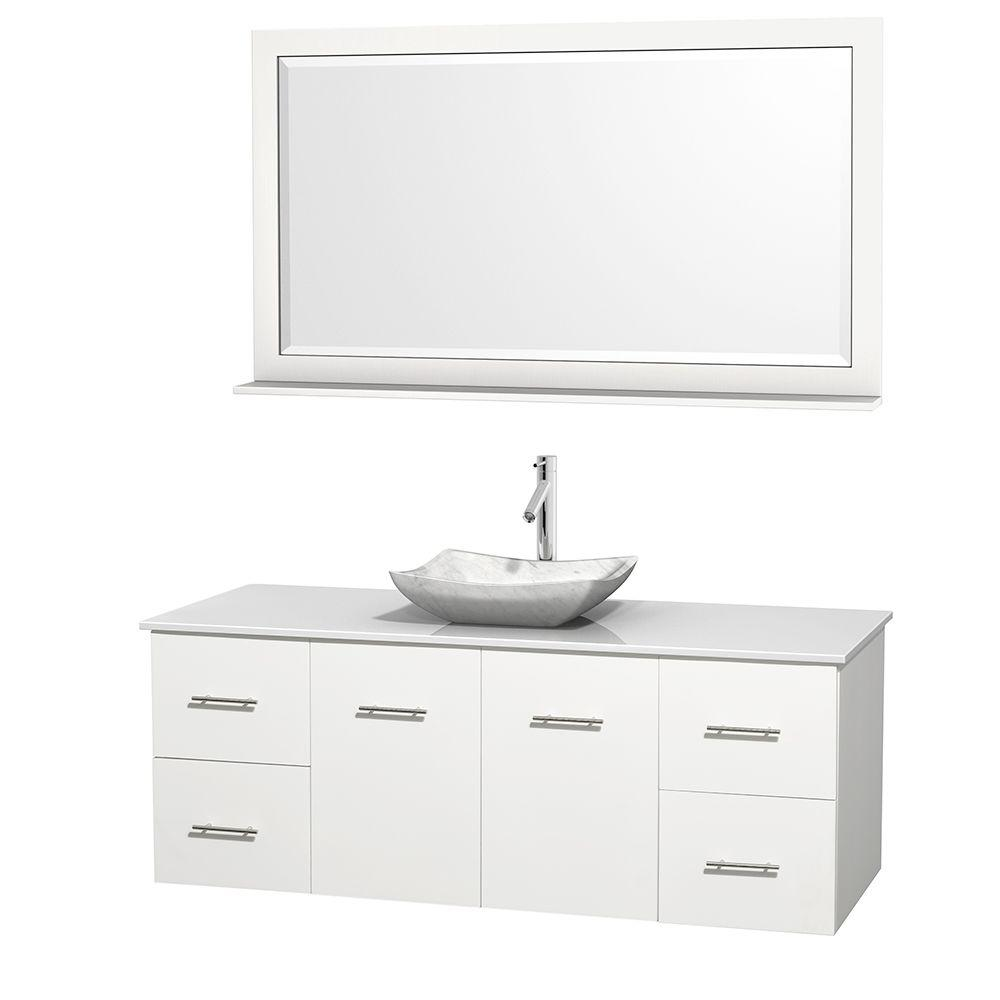 Centra 60 in. Vanity in White with Solid-Surface Vanity Top in