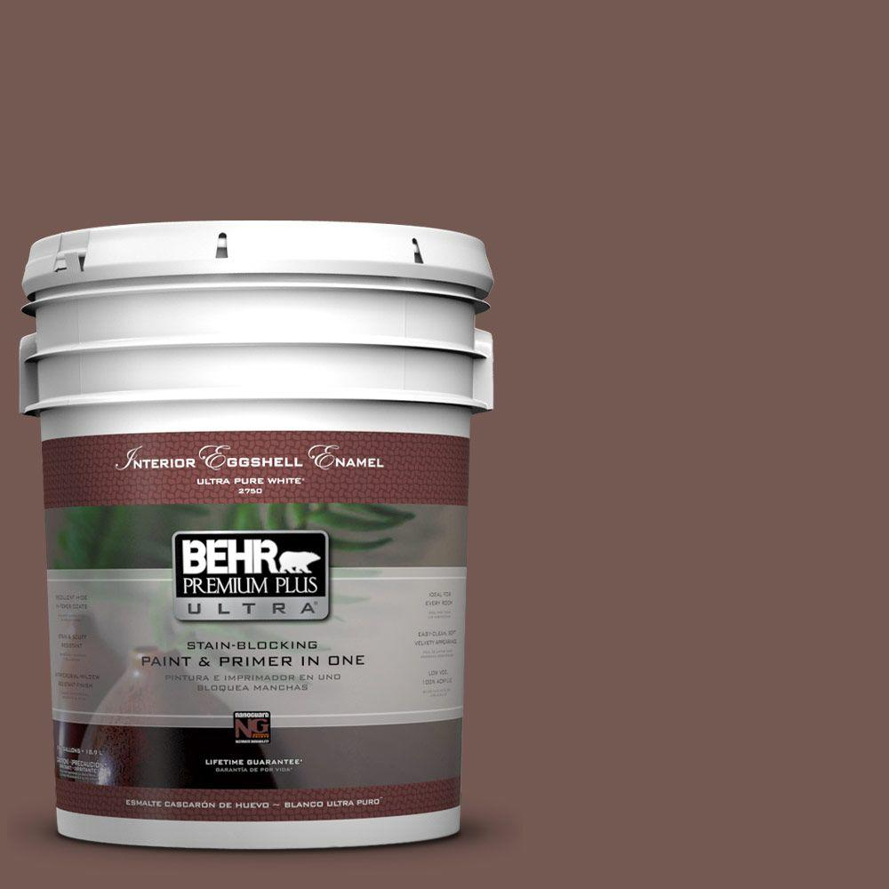 5 gal. #220F-7 Yorkshire Brown Eggshell Enamel Interior Paint and Primer