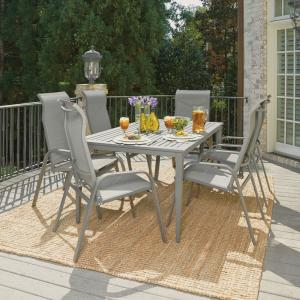 Home Styles Daytona Charcoal Gray 7-Piece Aluminum Round Outdoor Dining Set by Home Styles