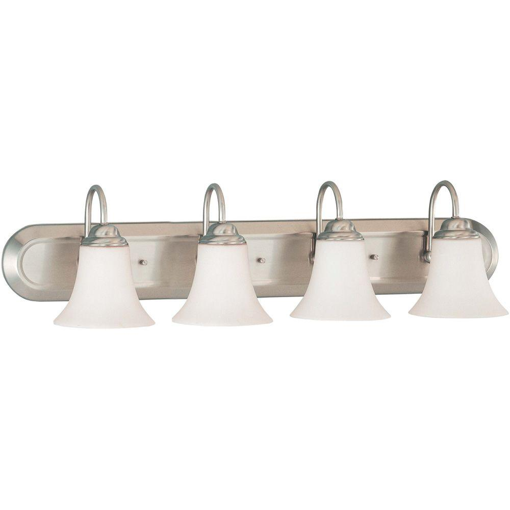 4-Light Brushed Nickel Vanity Light with Satin White Glass