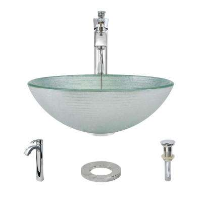 Glass Vessel Sink in Sparkling Silver with R9-7006 Faucet and Pop-Up Drain in Chrome