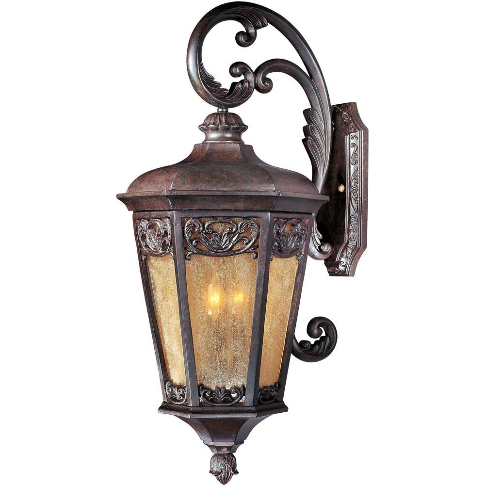 Maxim lighting lexington vx 3 light colonial umber outdoor for Outdoor colonial lighting