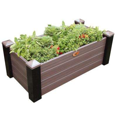 24 in. x 48 in. x 18 in. Maintenance Free Black and Walnut Vinyl Raised Garden Bed