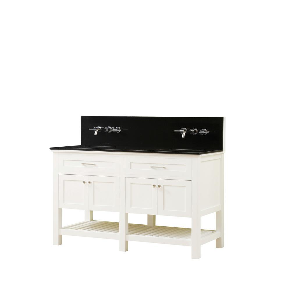 Preswick Spa Premium 60 in. W x 25 in. D Vanity in White with Granite Vanity Top in Black with White Basin